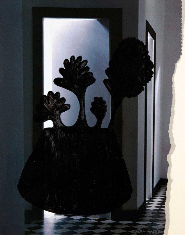 Anne Sofie Meldgaard: Untitled 2013. Lakfarve på avispapir, 29x22 cm. Foto: Simon Lautrop