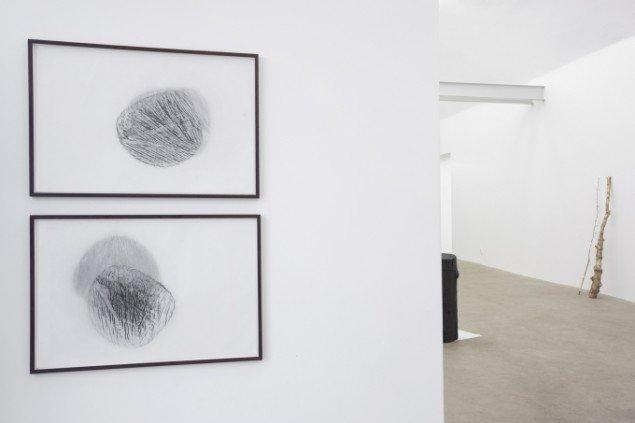 Tina Maria Nielsen: Frottage, (wood), 2013. Grafit på japanpapir. På I am - You are, Galleri Thomas Wallner 2014. Pressefoto