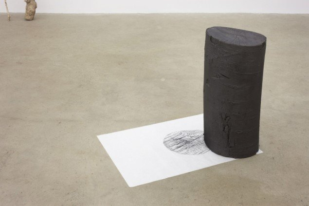 Tina Maria Nielsen: Both ends, 2013 &  Frottage, (wood), 2013. Bøgetræ, grafit, frottage på japan papir. På I am - You are, Galleri Thomas Wallner 2014. Pressefoto