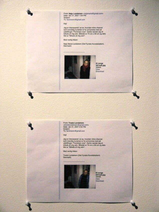 Naja Maria Lundstrøm: Application 2007. Ansøgningsmails på papir som hhv. mand og kvinde, 21x29 cm. Fra udstillingen Feminism Now?!, Babel Gallery, Trondheim, hvor særligt mænd blev opfordret til at deltage.