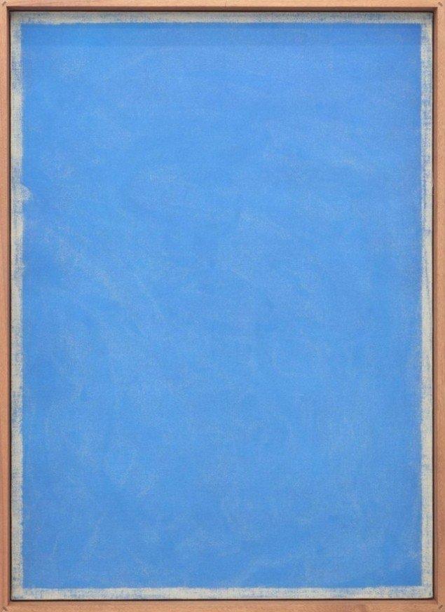 Rasmus Høj Mygind Untitled (Blue) 2012. Farvepigment på lærred, mdf og mahogni, 175 x 128cm. Foto: Henningsen Gallery