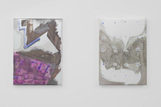 Rasmus Høj Mygind: Begge  Untitled 2014. Akryl på PVC-banner, 77 x 55cm. Foto: Henningsen Gallery