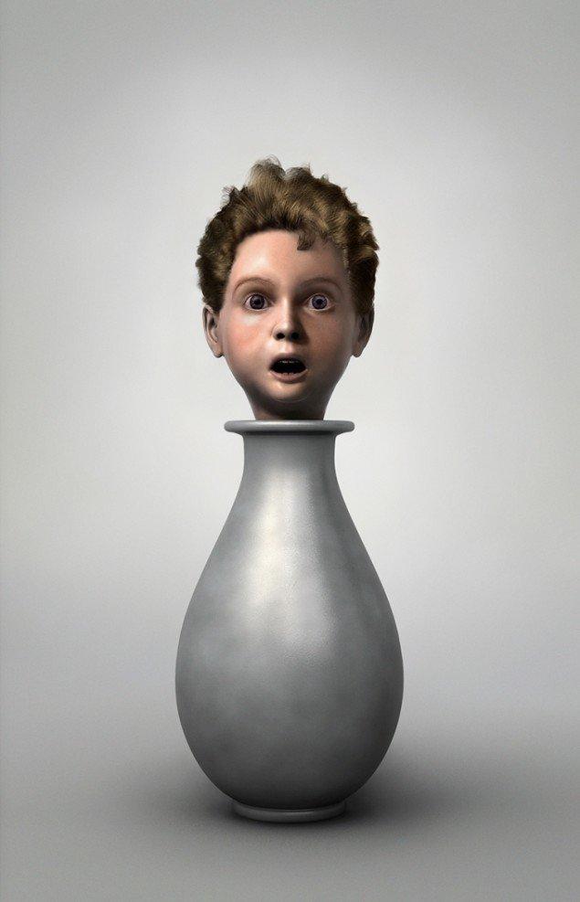 Ole Tersløse: Forbløffet barn, 2013. Computersimuleret værker, lambdaprint monteret på glas, 160 x 103 cm. På Childish behavior, Galleri NB 2014. Foto: Ole Tersløse