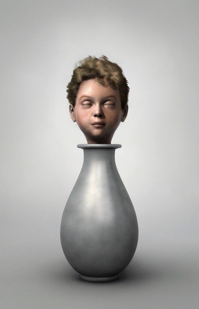 Ole Tersløse: Mediterende barn, 2013. Computersimuleret værk, lambdaprint monteret på glas, 160 x 103 cm. På Childish behavior, Galleri NB 2014. Foto: Ole Tersløse