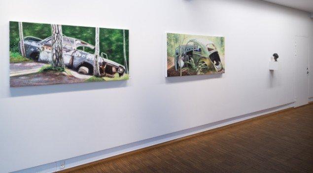 Udstillingsview fra Steen Larsens Junkyard. På Galleri NB 2014. Foto: Kurt Nielsen