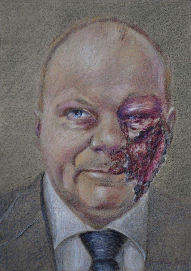 Simone Aaberg Kærn: Gade. Fra Serien RAMT. 15 danske politikere 2011-2013. Blyant på papir, 19x29 cm.