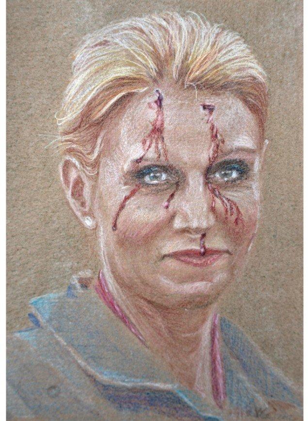 Simone Aaberg Kærn: Helle. Fra Serien RAMT. 15 danske politikere 2011-2013. Blyant på papir, 19x29 cm.
