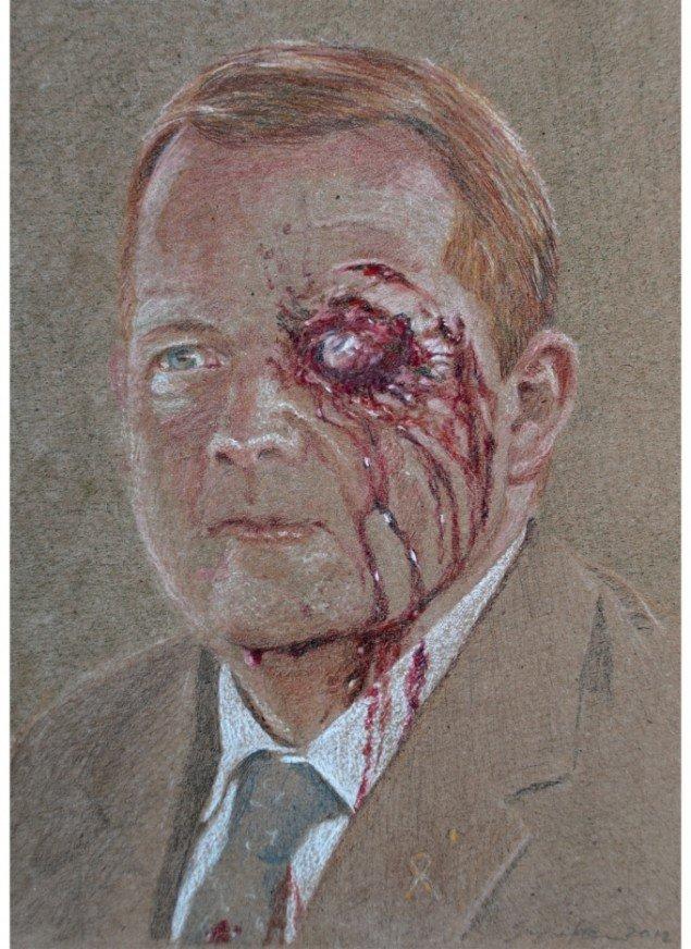 Simone Aaberg Kærn: Lars. Fra Serien RAMT. 15 danske politikere 2011-2013. Blyant på papir, 19x29 cm.