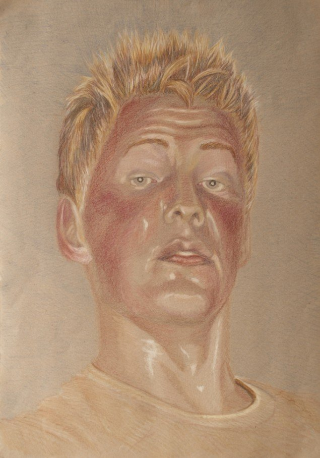 Fra serien RAMT. Sårede danske soldater i Helmand 2011. Blyant på papir 30x60 cm. Tegnet med udgangspunkt i fotos af sårede danske soldater.