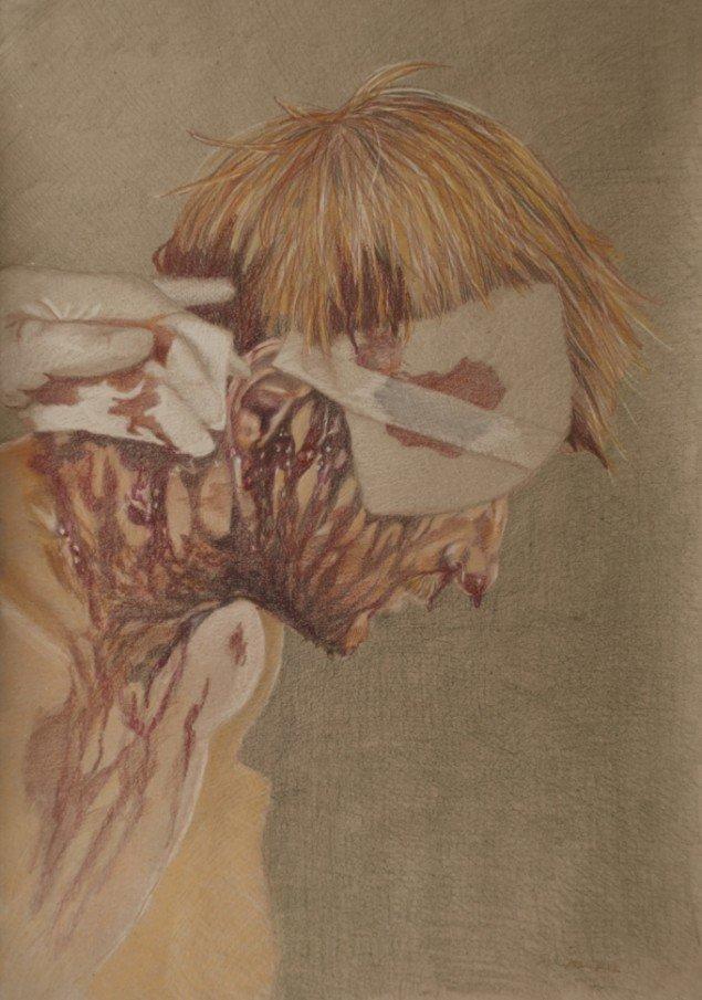Fra serien RAMT. Sårede danske soldater i Helmand 2011. Blyant på papir 30x60 cm. De mest sårede er tegnet efter fotos af sårede afghanere.