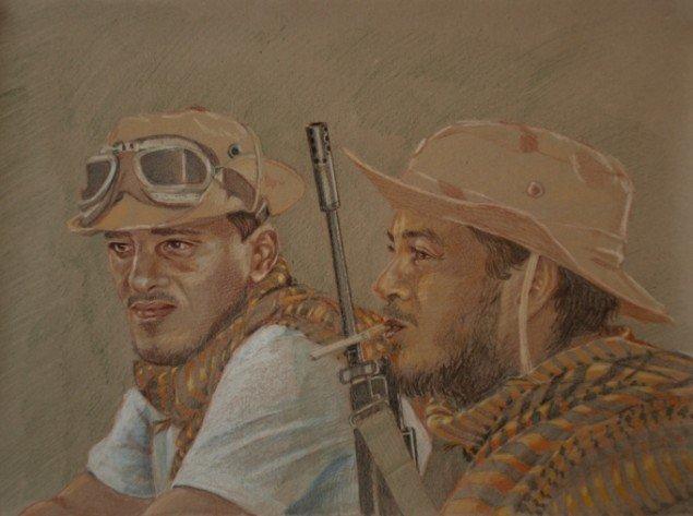Simone Aaberg Kærn Rebeller 2011. Fra serien Libyenstudier. Farveblyant på papir, 40x60 cm