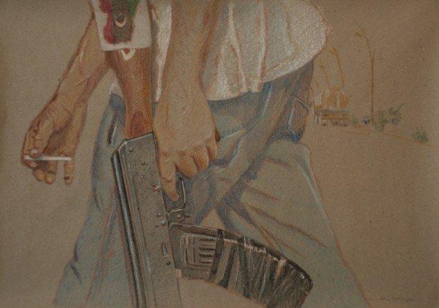 Simone Aaberg Kærn Den evige kriger 2011. Fra serien Libyenstudier.  Farveblyant på papir, 40x60 cm