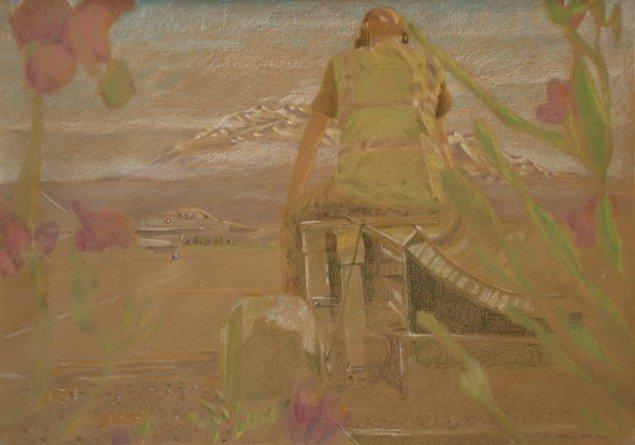Simone Aaberg Kærn Urolig venten 2011. Fra serien Libyenstudier. Farveblyant på papir, 60x40 cm