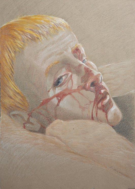 Fra serien RAMT. Sårede danske soldater i Helmand 2011. Blyant på papir 30x60 cm.