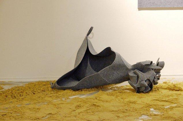 Heine Skjerning: Sommerfuglepagode (detalje), 2014. Byggematerialer. På Skulptur og pagode, Vestjyllands Kunstpavillon 2014. Foto: Heine Skjerning