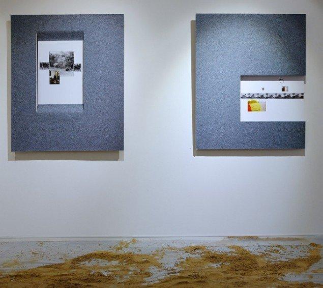 Heine Skjerning: Fotocollager på nålefiltbeklædt relief i krydsfiner, 2013-14. På Skulptur og pagode, Vestjyllands Kunstpavillon 2014. Foto: Heine Skjerning
