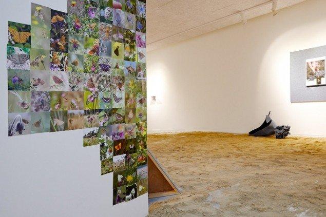 Heine Skjerning: Sommerfuglepagode (detalje), 2014. Fotocollage og byggematerialer. På Skulptur og pagode, Vestjyllands Kunstpavillon 2014. Foto: Heine Skjerning