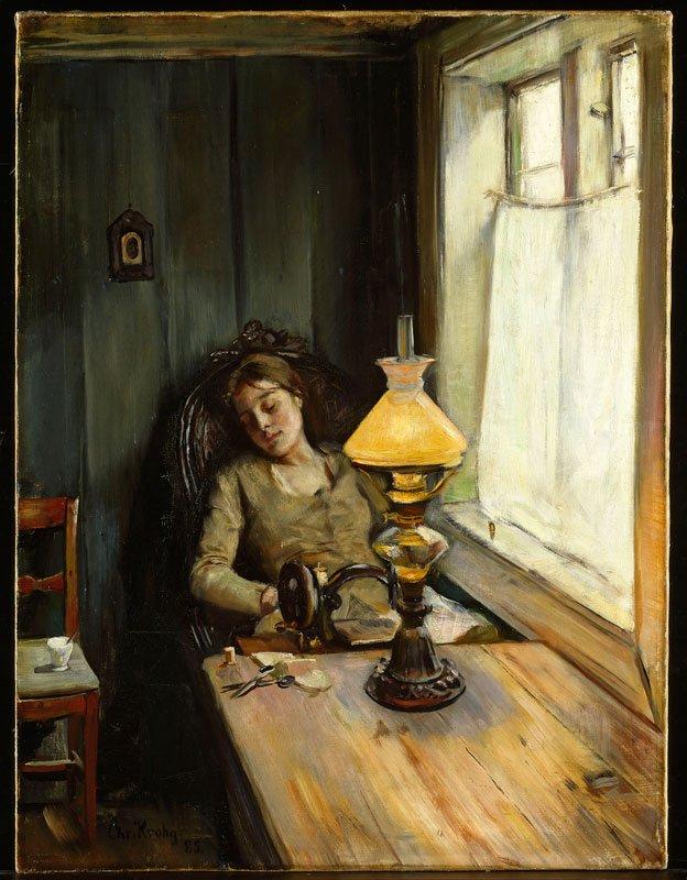 Christian Krohg, Træt, 1885. (Nasjonalmuseet for kunst, arkitektur og design, Oslo)