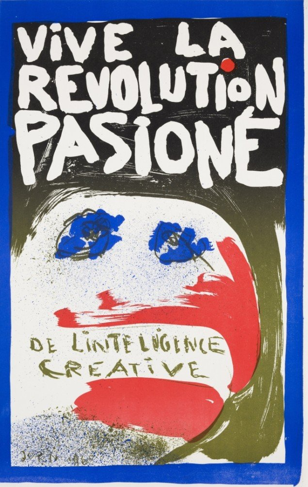 Asger Jorn: Længe leve den kreative intelligens' passionerede revolution, 1968, Farvelitografi. SMK pressefoto