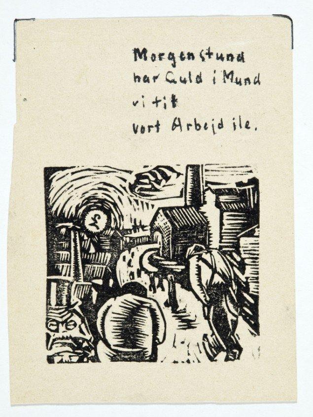 Asger Jorn: Morgenstund har guld i mund vi til vort arbejd ile, 1933, Linoleumssnit. Foto: Lars Bay © Donation Jorn