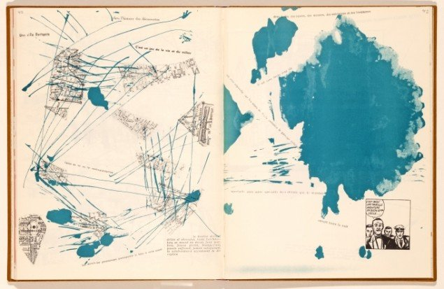 Debord og Jorn: Opslag i Mémoires, side 42-43, 1959, Foto: Lars Bay © Donation Jorn