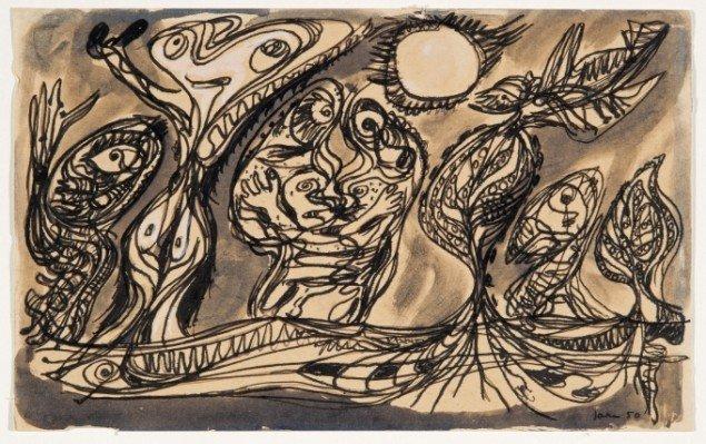 Asger Jorn: Uden titel, 1950, Pen, tusch, og akvarel på papir. Foto: Lars Bay © Donation Jorn, Silkeborg