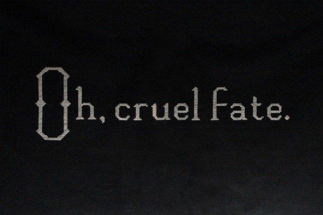 Rikke Benborg: Oh, cruel fate 2010. Broderi, 83x58 cm