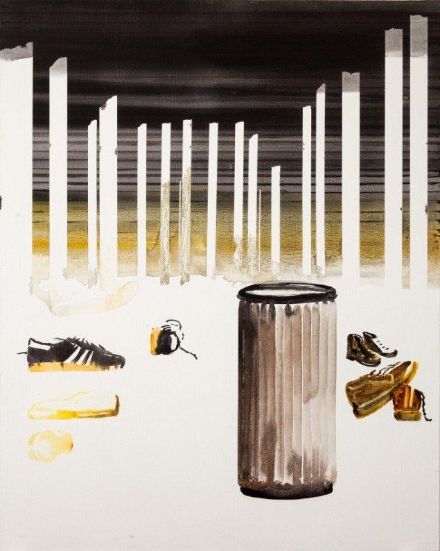 John Kørner: Shoes left behind, 2013. Akryl på lærred, 150 x 120 cm. Galleri Bo Bjerggaard / The Armory Show, 2014. Pressefoto