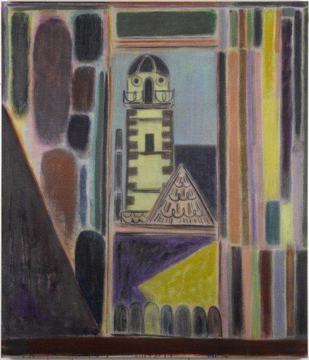 Tal R: Hotel Oper, 2011. Harelim, pigment og farvekridt på lærred, 200 x 172 cm. Galleri Bo Bjerggaard / The Armory Show, 2014. Pressefoto