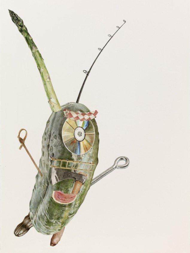 Alfred Steiner: Plankton (Sheldon), 2013. Akvarel på papir, 76 x 56 cm. Gallery Poulsen / VOLTA NY 2014. Foto: Alfred Steiner
