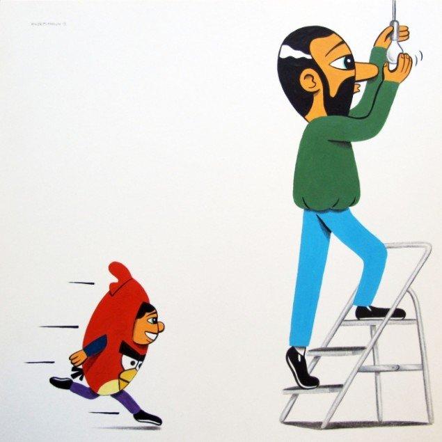 HuskMitNavn: Weeeeeeee 2014. Akryl og farveblyant på papir, 25x25 cm