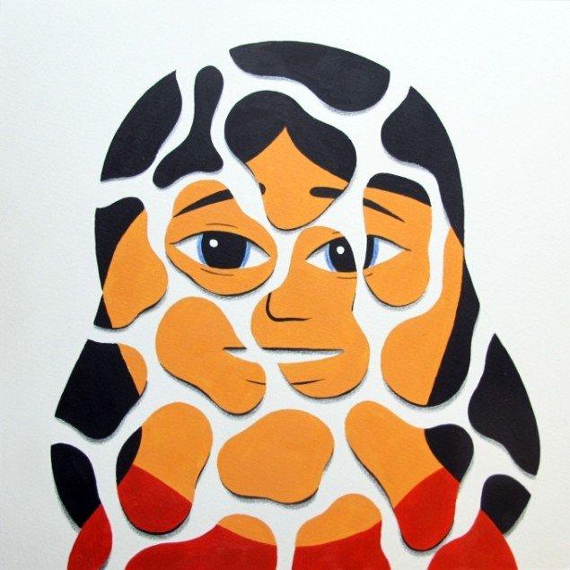 HuskMitNavn: Pictures of her 2014. Akryl og farveblyant på papir, 25x25 cm