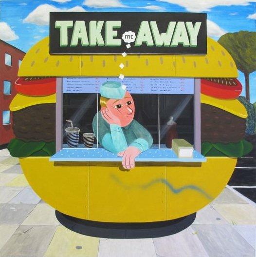 HuskMitNavn: Take me away 2014. Akryl på lærred, 180x180 cm