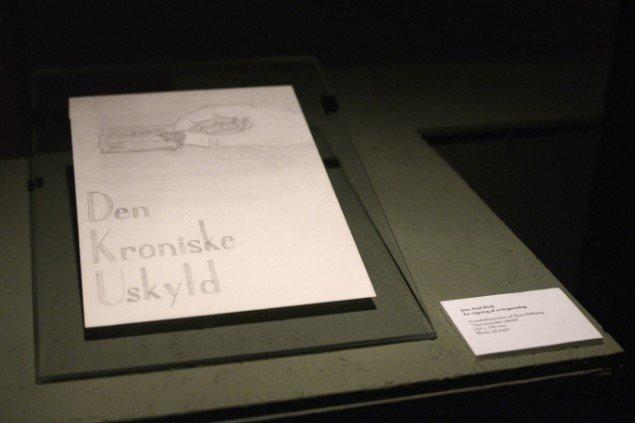En tegning af et bogomslag af Jens Axel Beck. På Sydhavnseffekter, Udstillingsstedet Sydhavn Station 2014. Foto: Lasse Krogh Møller