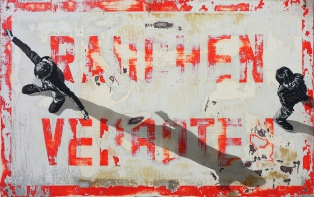Anders Gjennestad: Uden titel, 2014. Spray på metal, 51 x 80 cm. Galerie Wolfsen / SCOPE 2014. Pressefoto