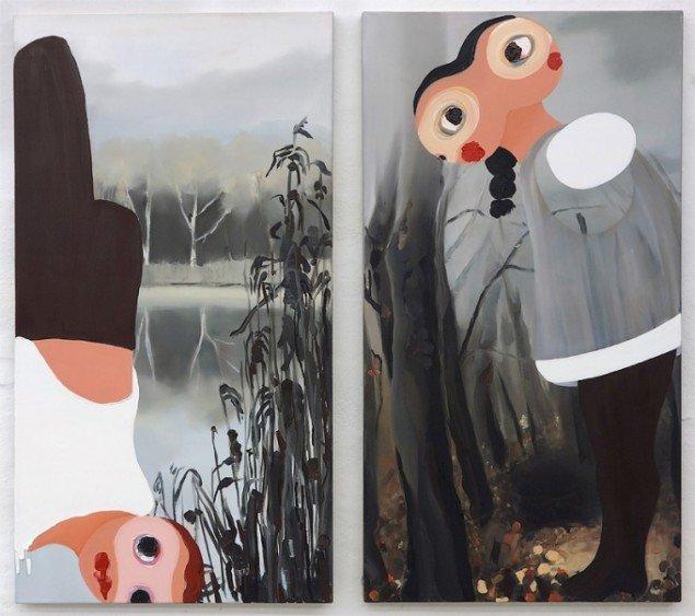 Kirsa Andreasen, 2014. Olie på lærred, 2 værker af 130 x 70 cm. Galerie Wolfsen / SCOPE 2014. Pressefoto