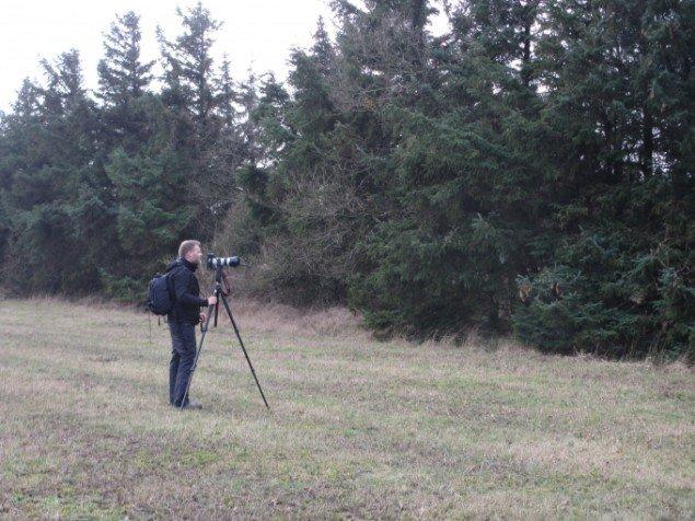Morten Barker leder efter motiver i et læhegn, som dækker for en stilling med soldater og pjecer - solddaterslang for kanoner. Foto: Kirstine Bruun