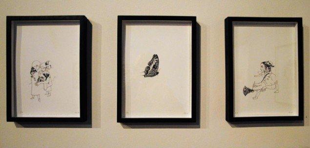 Catrine Raben Davidsen: 3 litografier fra serien Trixster, 2013. 29,7 x 21 cm. På Mostly Black and White, Kunstpakhuset 2014. Foto: Bente Jensen