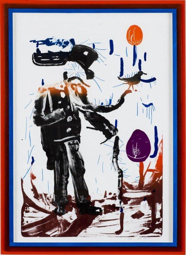 John Kørner: Litografi fra serien Gallery Fruits, 2007. 112 x 76 cm. På Mostly Black and White, Kunstpakhuset 2014. Pressefoto: HPJ