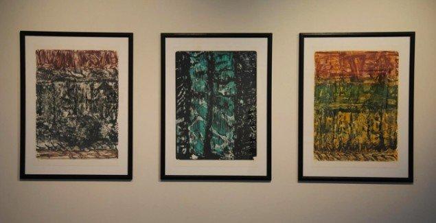 Per Kirkeby: 3 litografier, 90 x 63 cm, 2006. På Mostly Black and White, Kunspakhuset 2014. Foto: Bente Jensen