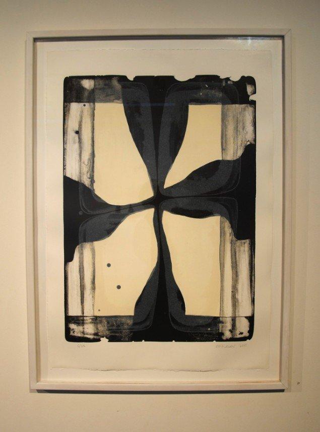 Ian Mckeever: 1 af 5 litografier, 90 x 63 cm, 2006. På Mostly Black and White, Kunstpakhuset 2014. Foto: Bente Jensen