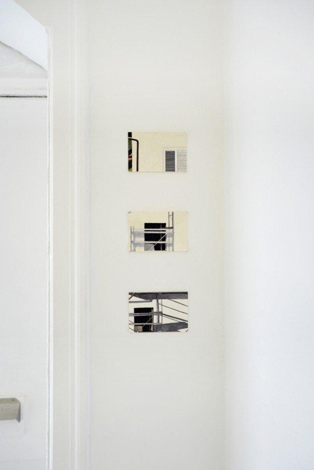 Anne Skole Overgaard: Huset overfor, 2013. 3 akvareller. Foto: Anne Skole Overgaard