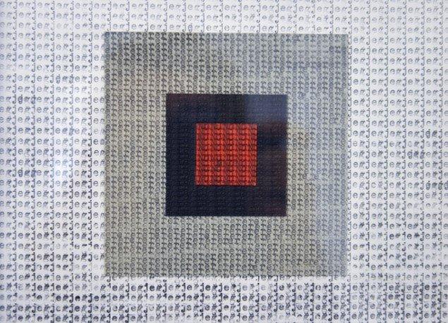 Jonas Georg Christensen: NU, 2014 (detalje). Skrivemaskine på papir. Foto: Jonas Georg Christensen
