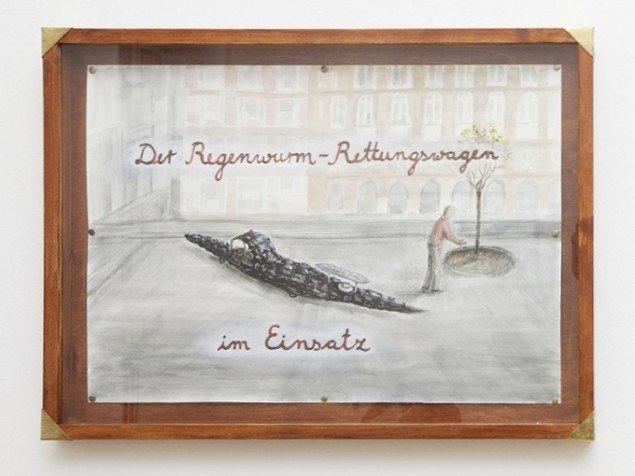 Hartmut Stockter: The Earthwormambulance in action, 2014. Blæk og akvarel på papir i træramme, 80x60 cm. Foto: Hartmut Stockter/LARMgalleri