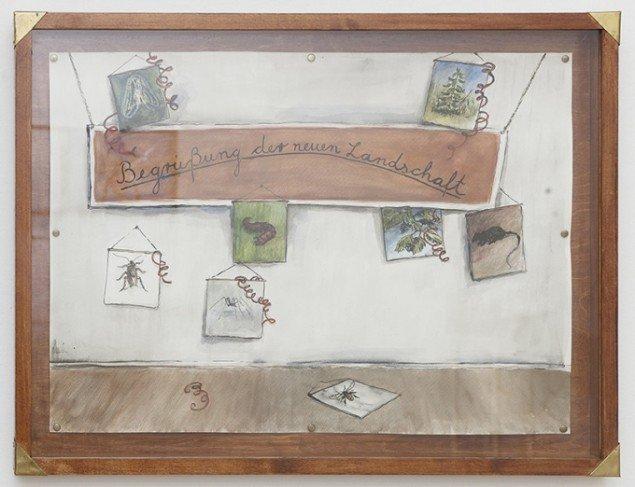 Hartmut Stockter: Salutation of the new landscape, 2014, blæk og akvarel på papir i træramme, 80x60 cm. Foto: Hartmut Stockter/LARMgalleri