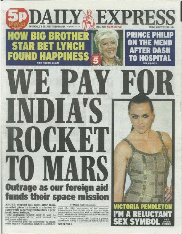 Forsiden på Daily Express – er det britisk ulandsbistand der finansierer Indiens mars-mission?