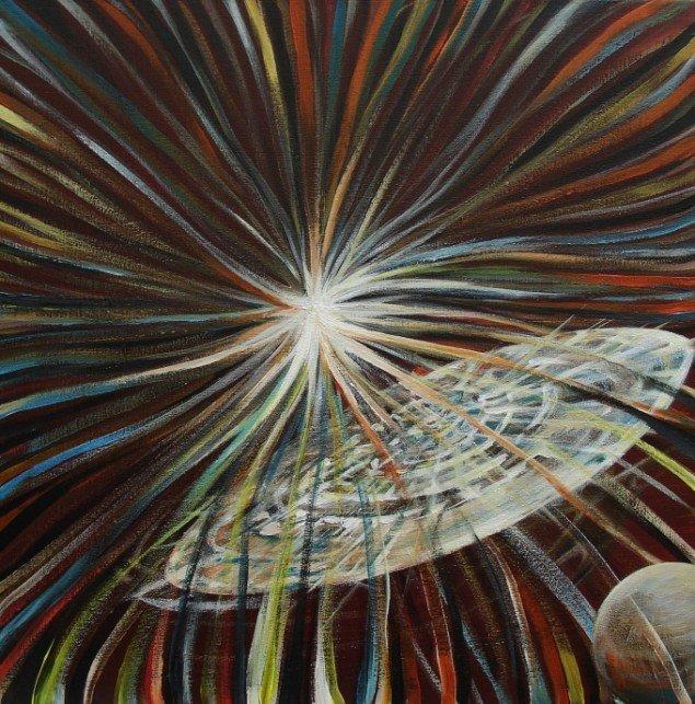 Lars Mikkes: Ny galakse, 40x40 cm, akryl på lærred, 2013. Foto: Lars Mikkes