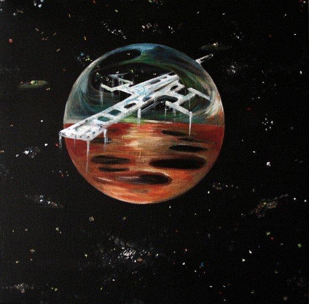 Lars Mikkes: Spaceship Ulysses, 40x40 cm, akryl på lærred, 2013. Foto:  Lars Mikkes