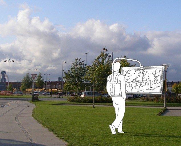 Hartmut Stockter: Landskabsforfølgelse, 2008, aluminium, rygsækseler, bælte, overmalet maleri i guldramme. Bøjet stang: 170x100x40 cm, maleri: 80x140x10 cm. Foto: Hartmut Stockter/LARMgalleri