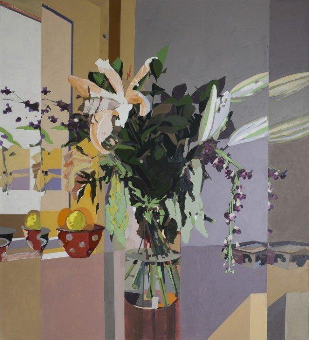 Et af Erik A Frandsens store malerier i Landstingssalen. Foto: Folketinget